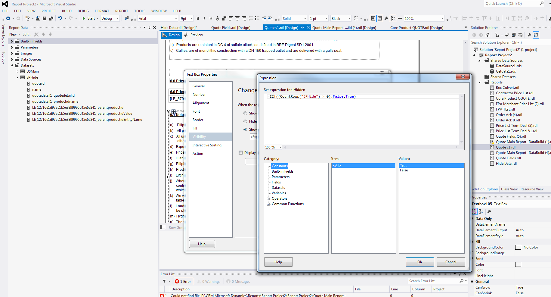SSRS hide textbox based on tablix - Microsoft Dynamics CRM