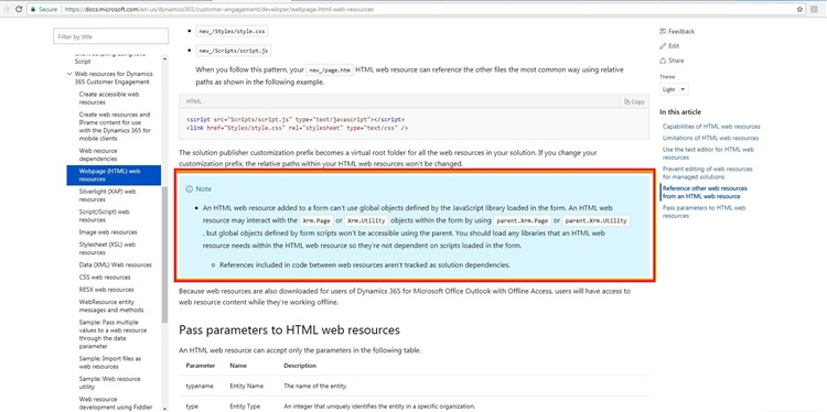 How to pass the execution context to CRM HTML Webresource in