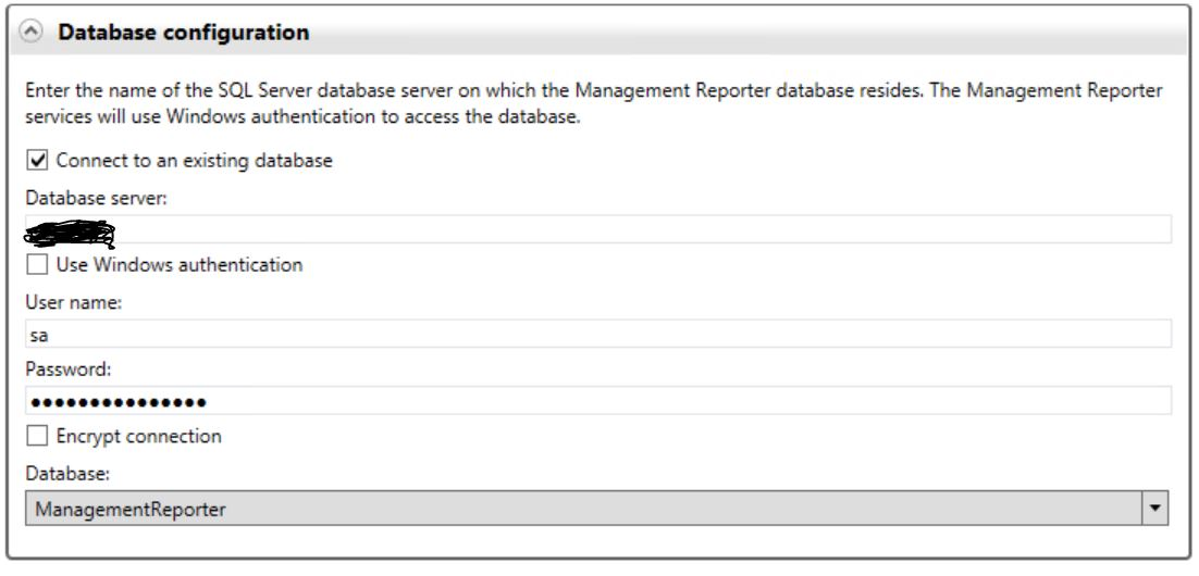 Management Reporter 2012 CU15 installation connection string