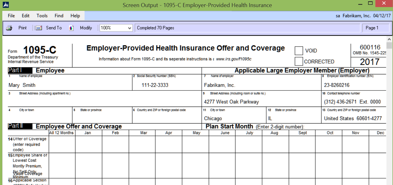 The form looks exactly like the IRS form. You can download a sample from  www.irs.gov, or here is a screenshot of the onscreen display from GP.