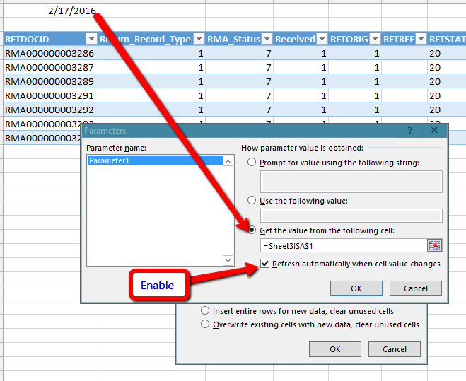 How to Have Microsoft Query Pull a Variable from a SQL Query