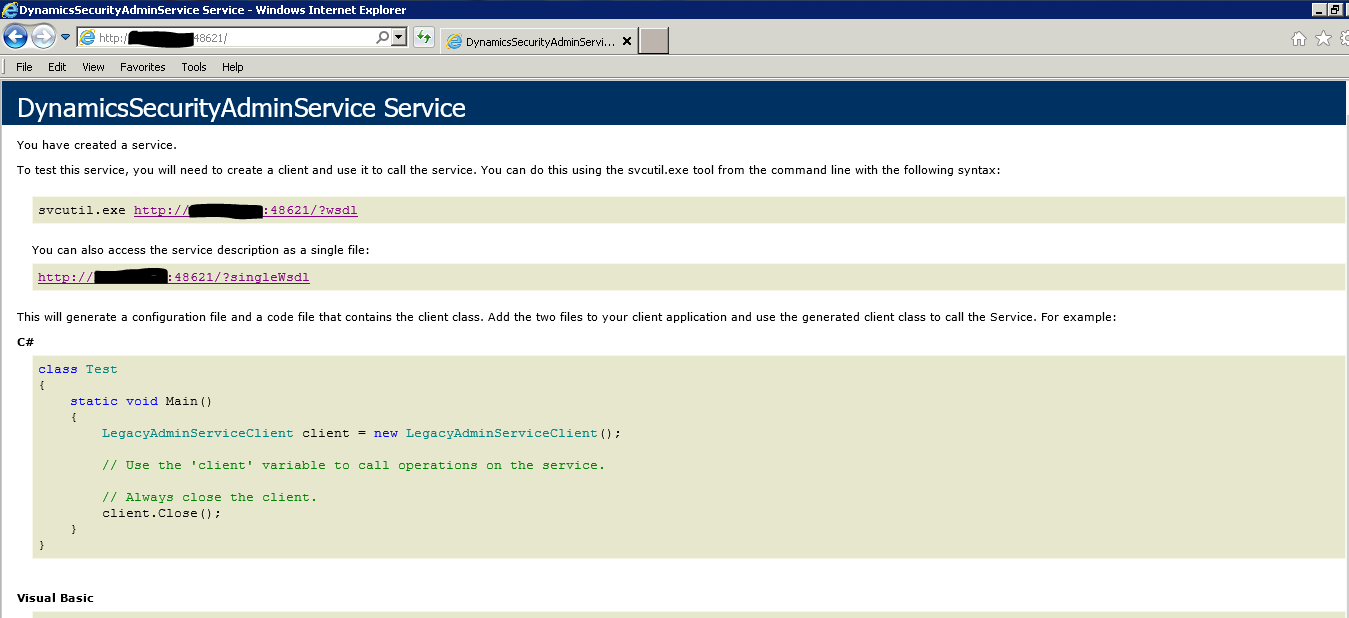 Could not access service DynamicsSecurityConsole - Microsoft