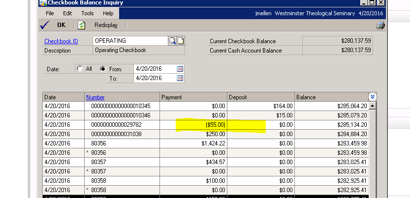 negative check amount showing in checkbook balance inquiry