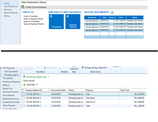 Project Time and Expense Approve under Navigation List - Microsoft