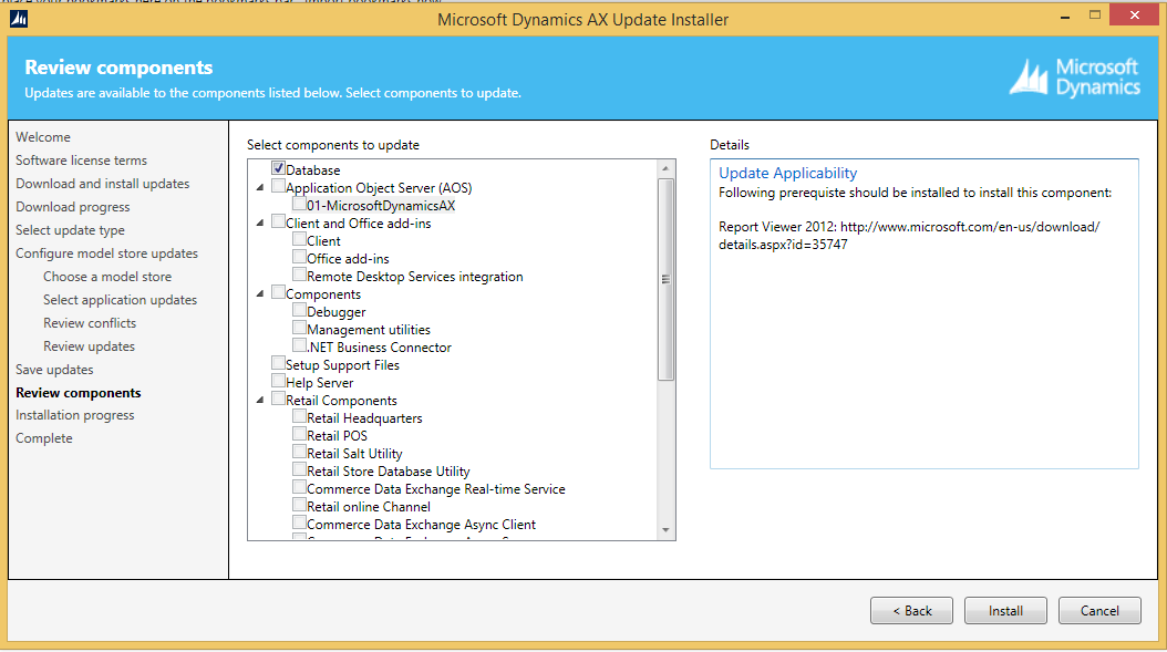 Updating dynamics AX 2012 CU 8 to CU 9 AOS,Client and Component