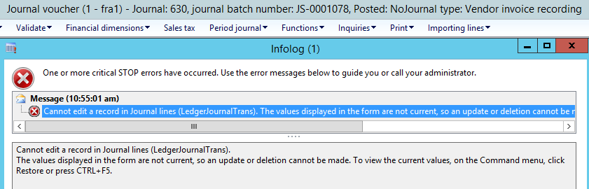 Cannot edit a record in Journal line (LedgerjournalTrans