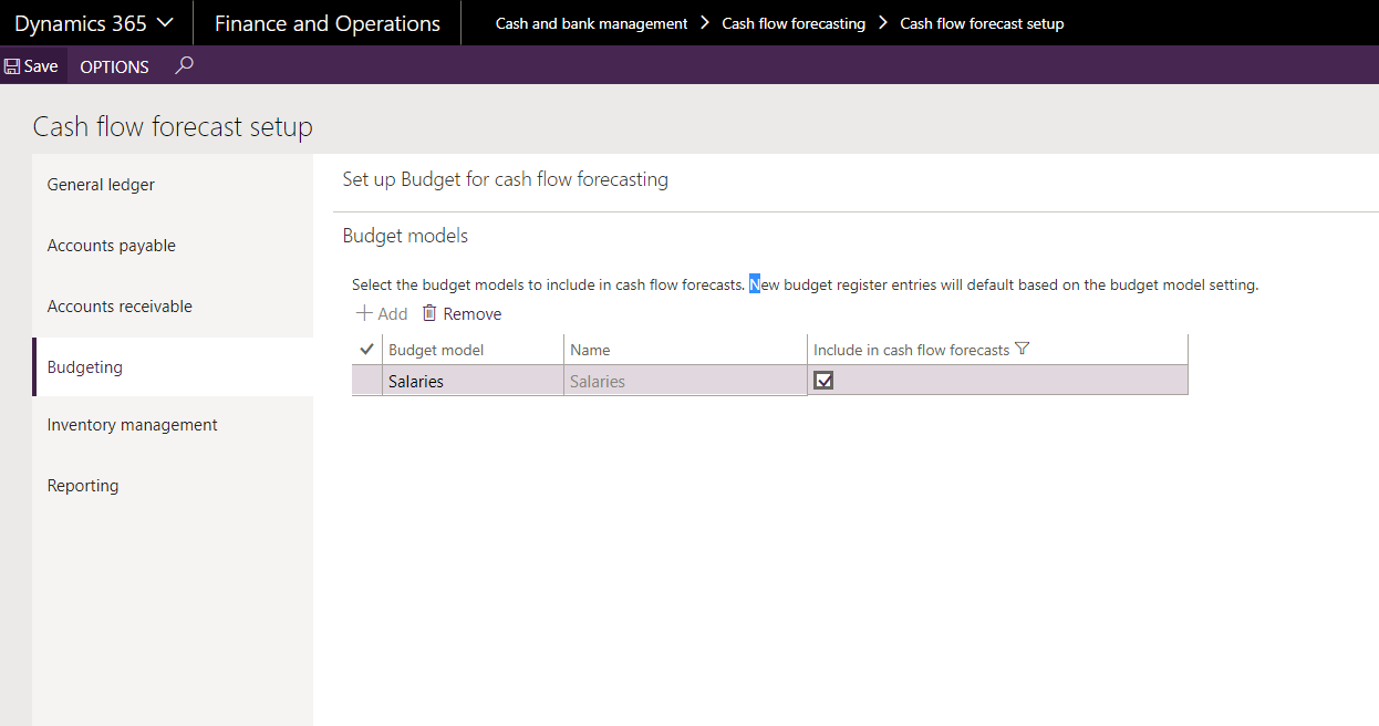 budget model not integrated into the cashflow forecast microsoft