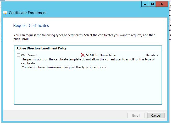 Windows Certificate Enrollment Error