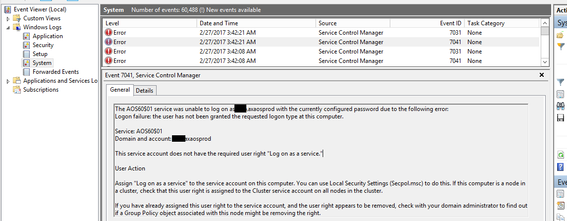 AOS services did not start due to logon failure - Microsoft