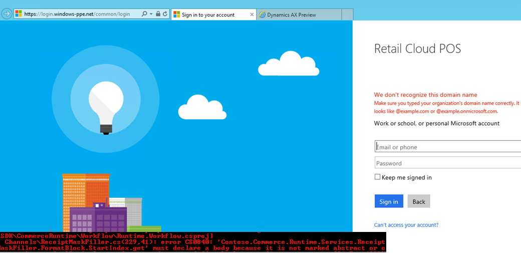 Not able to login in Dynamics AX7 RTW Retail CloudPOS - Microsoft