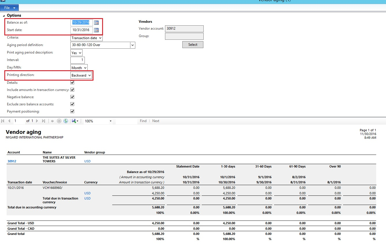 accounting aging report