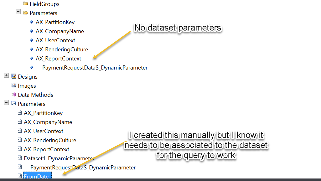 Add parameters to report based on AOT Query - Microsoft