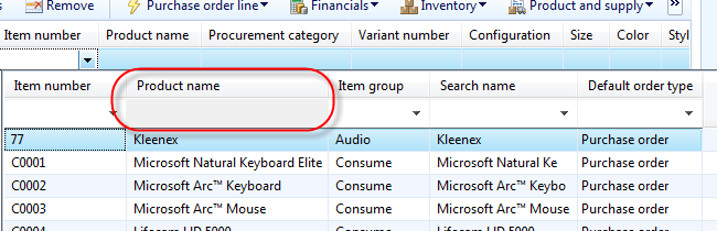 enable search by product name in purchase order screen microsoft