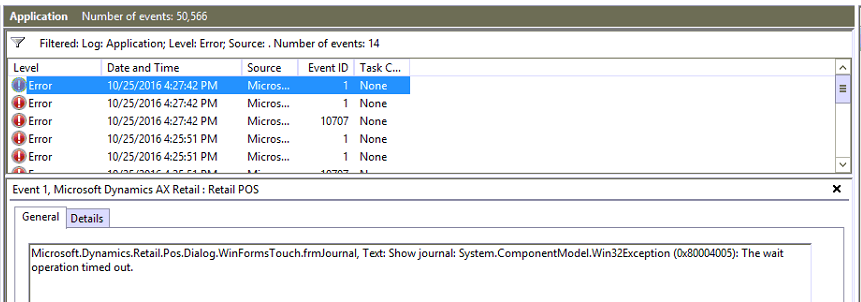 The wait operation timed out - Show Journal in POS - Microsoft