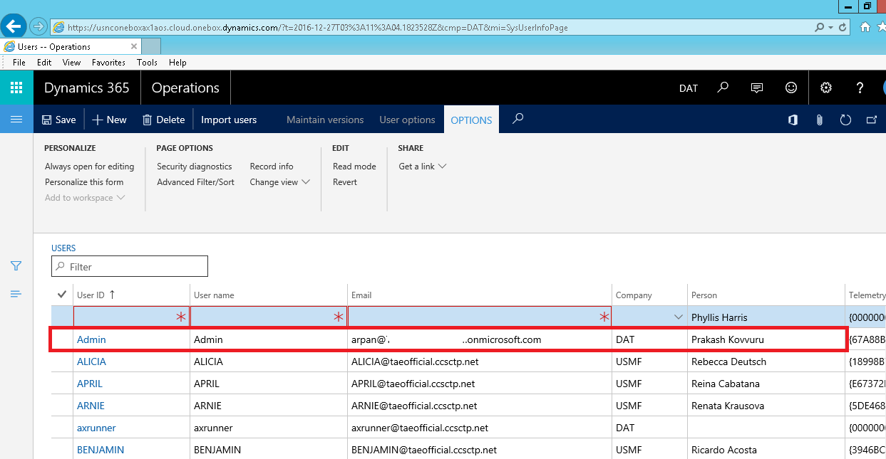 How to add user in VM for Dynamics 365 for Operation