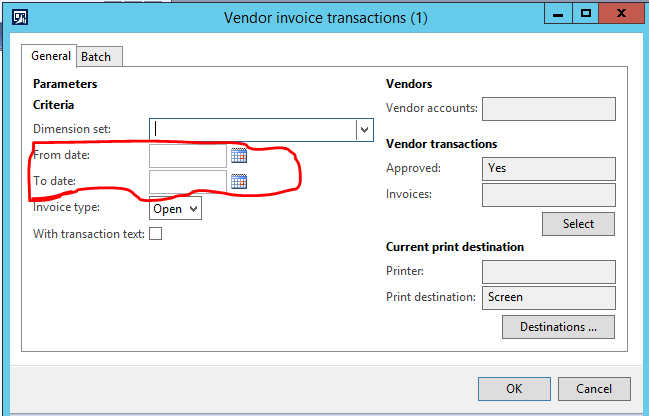 Add fromDate and toDate as Range in RDP Report - Microsoft Dynamics