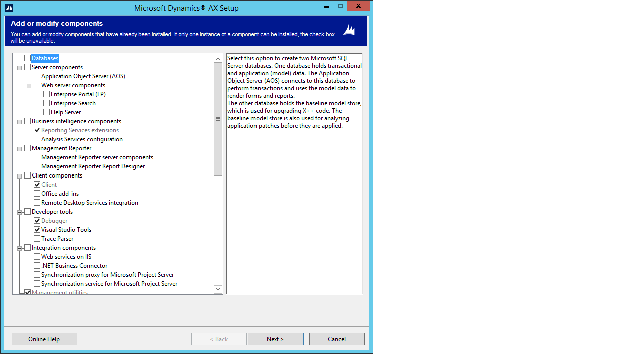 Ax pre requisites to install dynamics ax 2009 and enterprise portal - As You Can See Below No Option For Vs 2013 Dev Tools In Setup