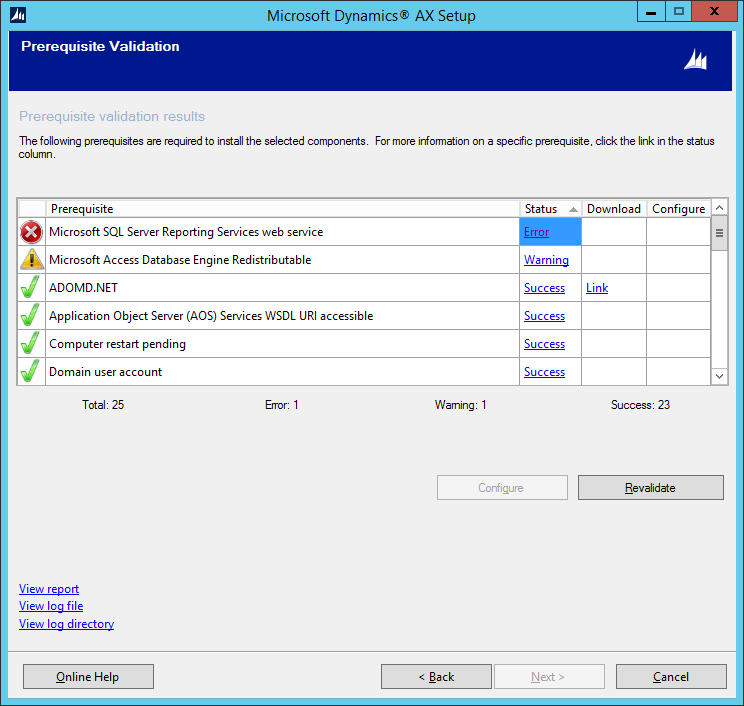 Installation Prerequisite Error: MS SQL Server Reporting Services