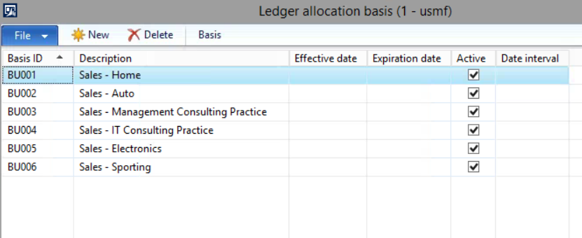 in the ledger allocation basis form select the basis button and the following form will open where you can define the base amount that will be used for