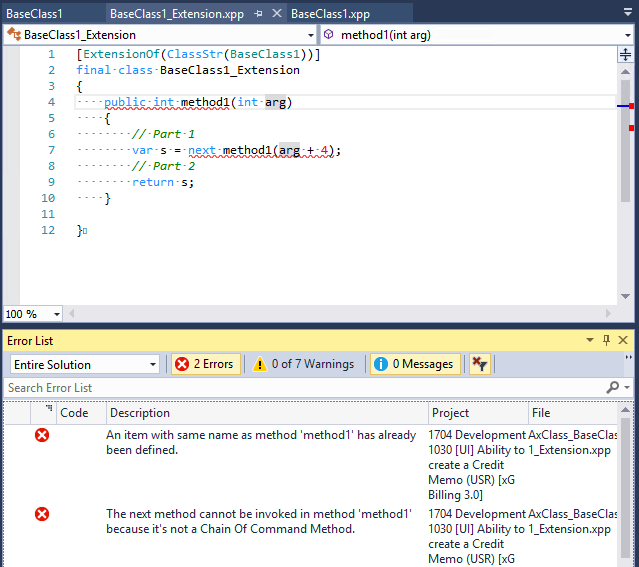 Errors with Chain of Command - Microsoft Dynamics AX Forum Community