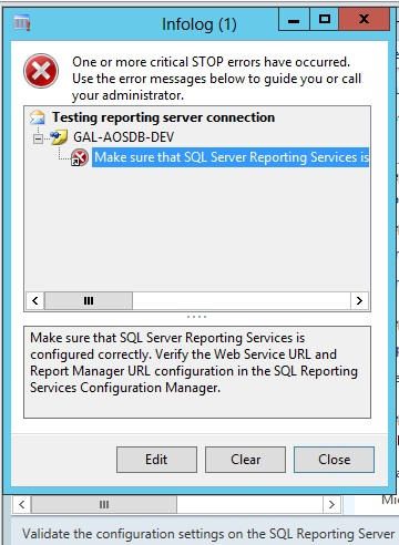 Error while Validating the report server configuration in AX
