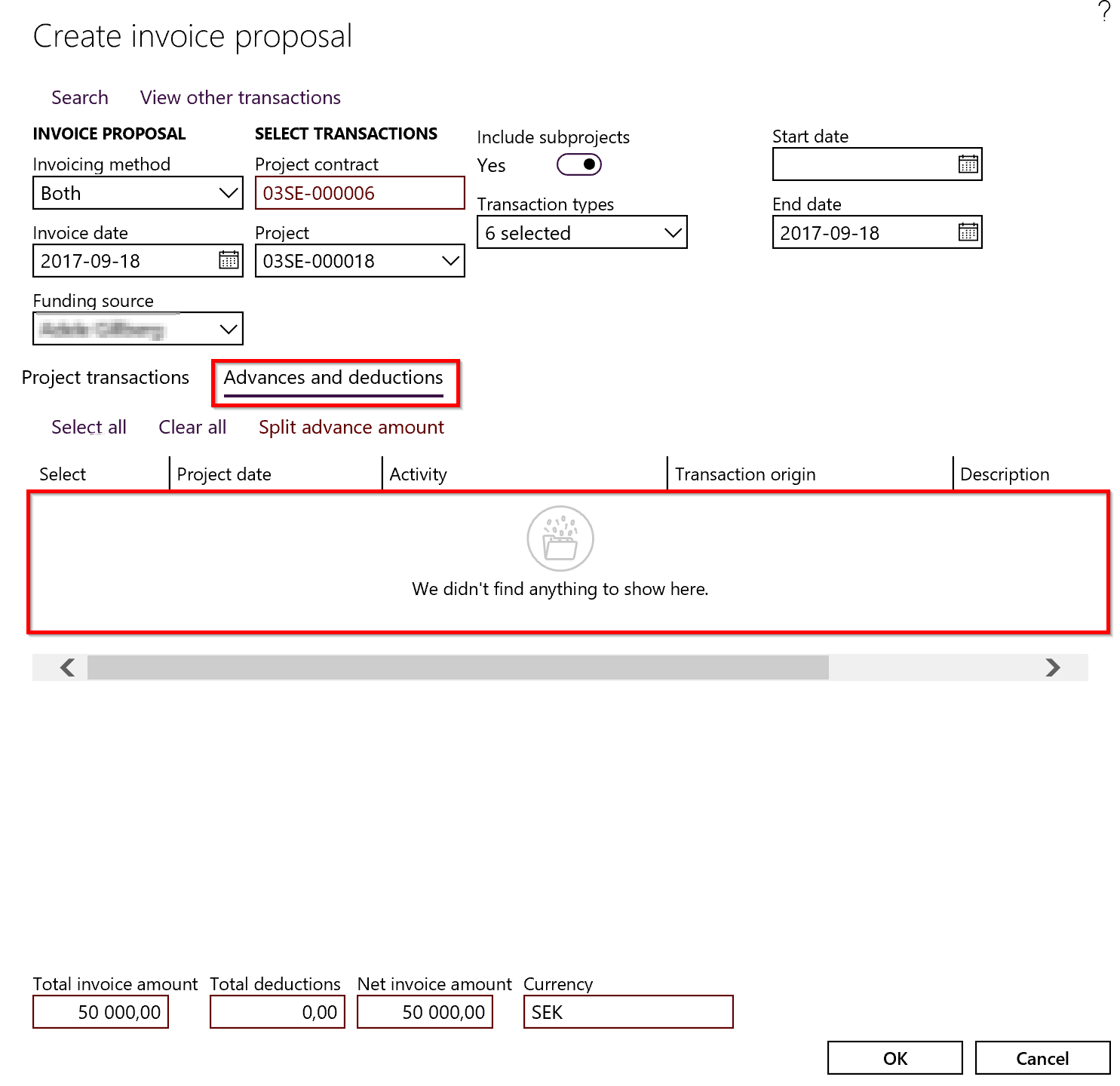 on account deduction lines don t show up in invoice proposal