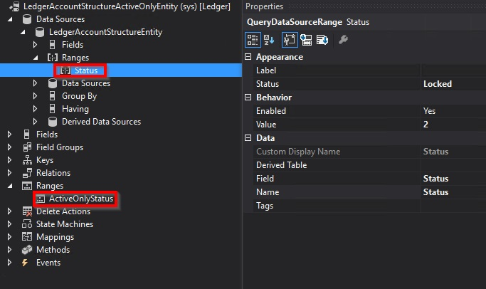 Data entity Ranges node does nothing in D365 - Microsoft Dynamics AX