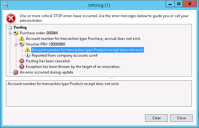 Account number for transaction type ### does not exist  - Microsoft
