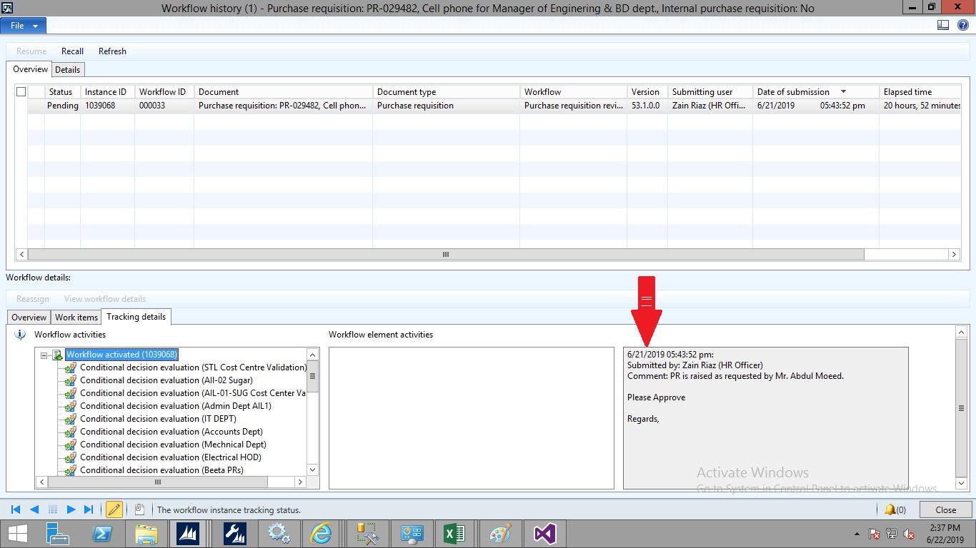 Purchase Requisition Workflow History Report - Microsoft
