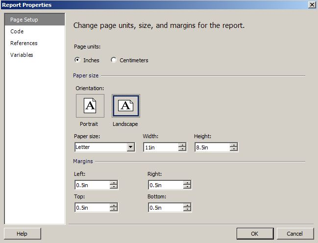 How to change SSRS report design to landscape orientation