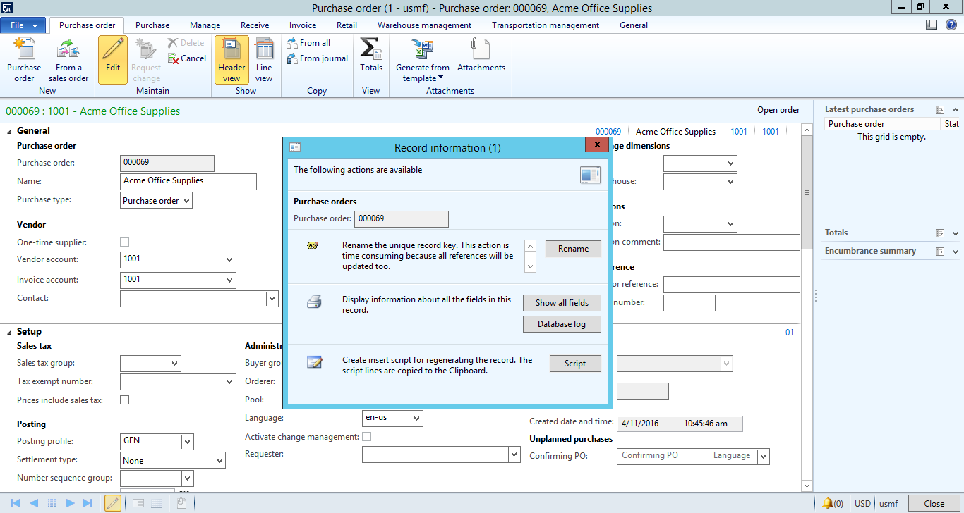 Can i create User Template for purchase order header - Microsoft ...