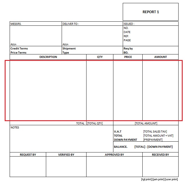 rdlc template - ssrs fixed table size report for preprinted format