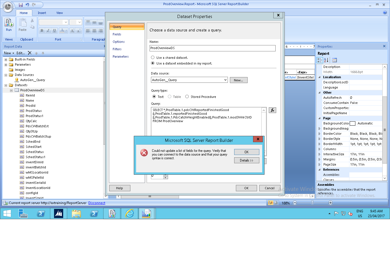 i have log in as administrator to sql server report builder