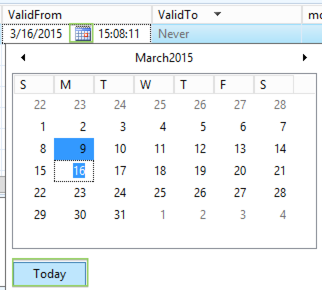 Default value in date effective table for ValidFrom is not