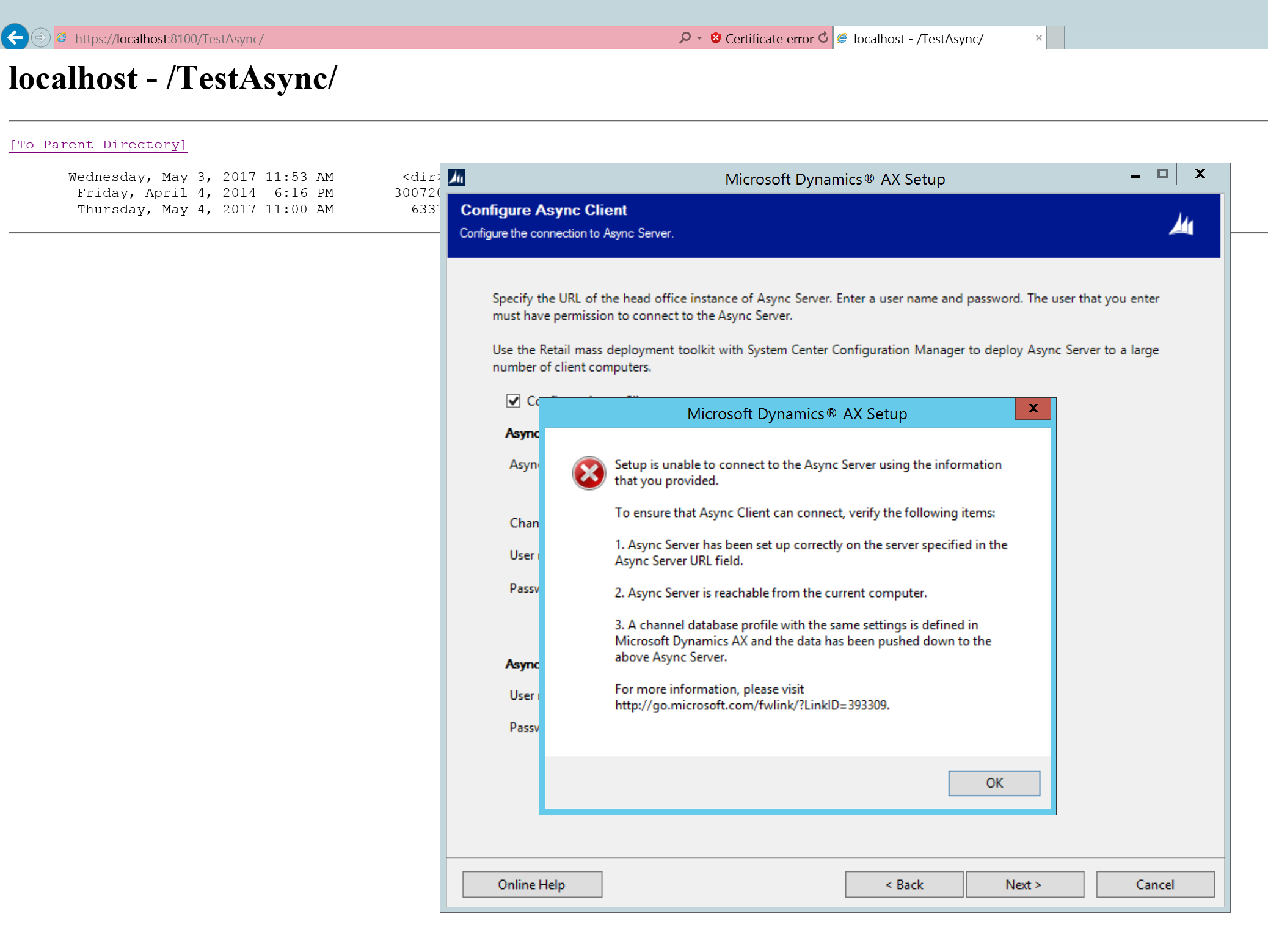 Self signed certificate for async server microsoft dynamics ax i installed it many times but no luck still stuck with this issue xflitez Choice Image