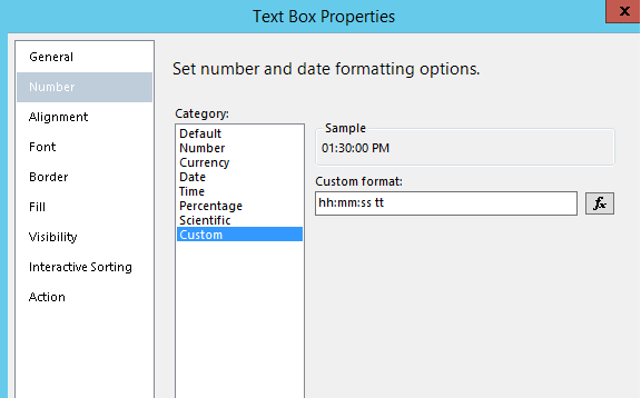Time field on SSRS Report Expression display - Microsoft Dynamics AX