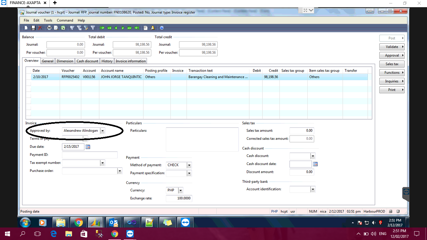 Set Up Approved By Field In Invoice Register Microsoft Dynamics AX - How to invoice someone