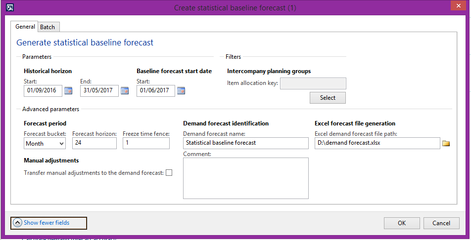 statistical baseline forecasting excel sheet not fetching values