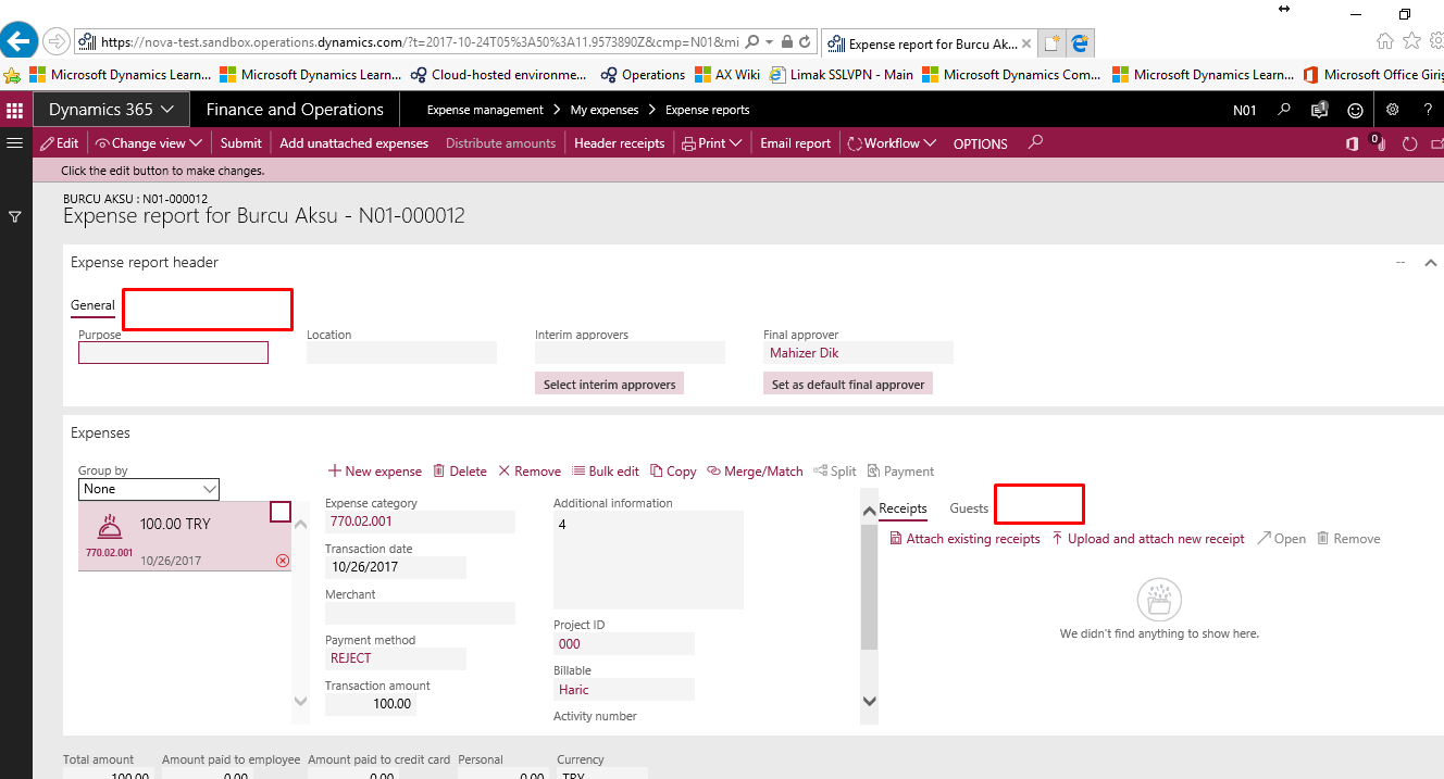Expense Report-Dimensions tab is not active - Microsoft Dynamics AX ...