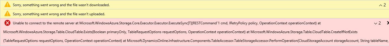 Unable to connect to Azure storage - Microsoft Dynamics AX