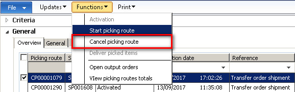 Cancel two or more Picking list routes at the same time is