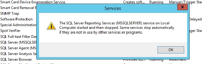 SQL Server Reporting Services on Local Computer Started then
