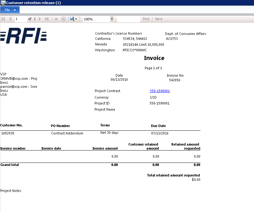 subscription invoice printing in retention invoice format