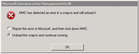 how to fix Nav 2013 Administration error after installing