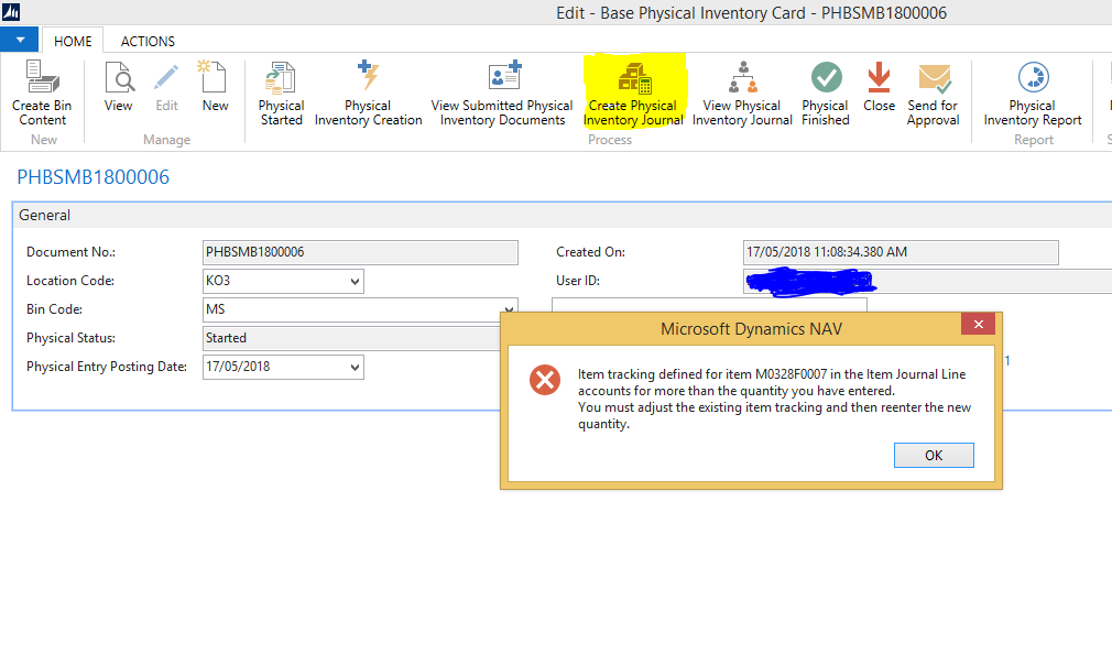create physical inventory journal error in nav 2013 r2 microsoft