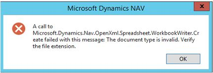 A call to Microsoft Dynamics Nav OpenXml Spreadsheet WorkbookWriter