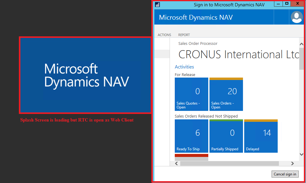 nav 2016 rtc client become running web client