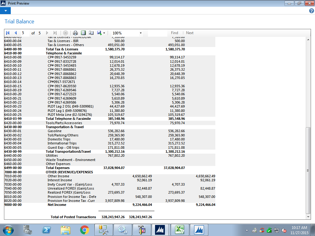 trial balance total debit  u0026 credit amount in nav is not