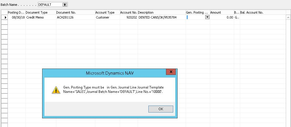 General Posting Error When Using Sales Journals Microsoft Dynamics