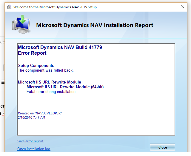 Error while installing web server components in NAV 2015 CU9